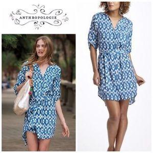 Anthropologie   Maeve Blue & White Ikat Dress